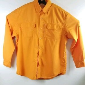 Duluth Trading Mens L Orange Vented Shirt